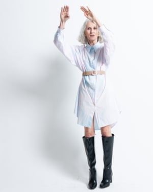 Model wears wears dress, £385, by MM6 Maison Margiela, from matchesfashion.com. Belt, £17.99, mango.com. Boots, £49.99, hm.com