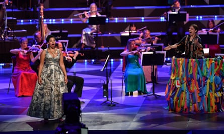 The conductor Dalia Stasevska leads the soprano Golda Schultz and a reduced orchestra of 65 instead of the usual 300 for the Last Night of the Proms at the Royal Albert Hall, where there was no audience this year due to coronavirus restrictions.