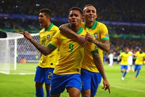 Gabriel Jesus celebrates scoring the opener, before Firmino fires in the second and Brazil into the final.