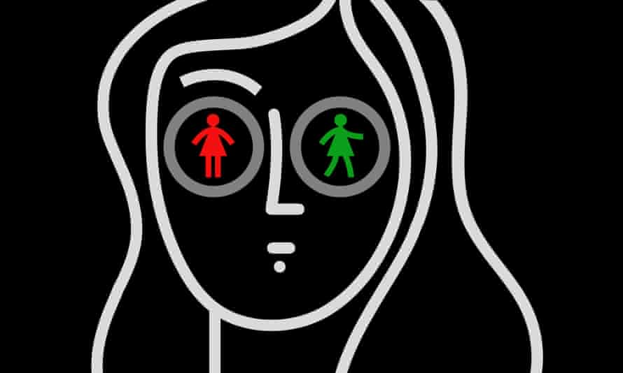 illustration of girl's face with red figure in one eye and green in the other