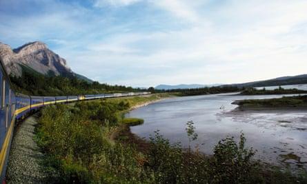VIA Rail passenger train near Lake Superior