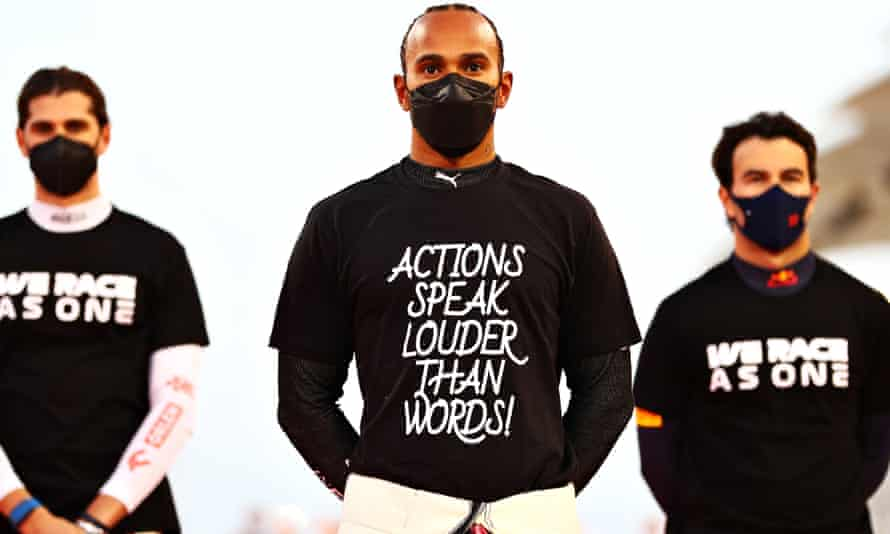 Lewis Hamilton gets his message across prior to the Bahrain Grand Prix last weekend