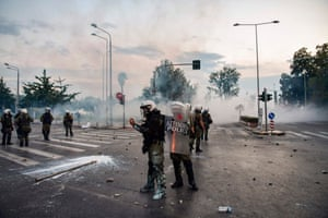 Riot police clash with protesters in a demonstration against the agreement reached by Greece and Macedonia to resolve a dispute over the former Yugoslav republic's name.