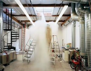 Patient Care Bay (Bigfoot dewar being filled with liquid nitrogen), Alcor Life Extension Foundation, Scottsdale, Arizona. October 2006. From The Prospect of Immortality by Murray Ballard, published by GOST, April 2016.