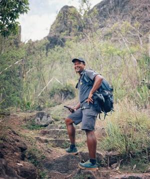 René-Claude walks the Mafate landscape.