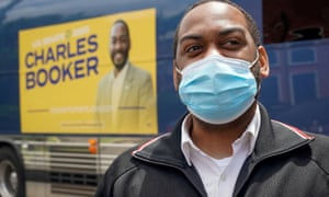 Charles Booker arrives at a campaign stop on the day of the primary election in Louisville, Kentucky, on June 23.