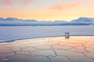 Land of snow and ice by Josh Anon, US'The Arctic is beautiful all year-round, but in the late winter, when temperatures reach -30C (-22F) and everything is white and the sun stays low on the horizon, it's stunning. Josh was on a boat in a fjord across from Longyearbyen, Svalbard, Norway, and encountered this polar bear walking along the edge of the ice. She was curious, walking past the boat twice – just long enough for Josh to take a shot with her white coat glowing in the setting sun. After satisfying her curiosity, she silently walked off into the distance.'