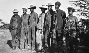 Herero men in chains, German South-West Africa