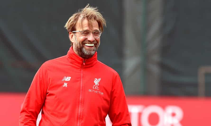 Jürgen Klopp is in relaxed mood as he oversees a Liverpool training session ahead of their Premier League match against Huddersfield on Friday