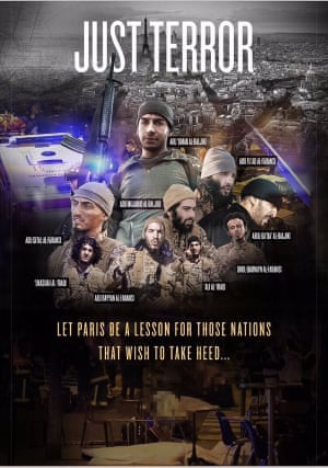 Montage of the nine Paris attackers, which featured in the latest issue of Isis's Dabiq magazine.