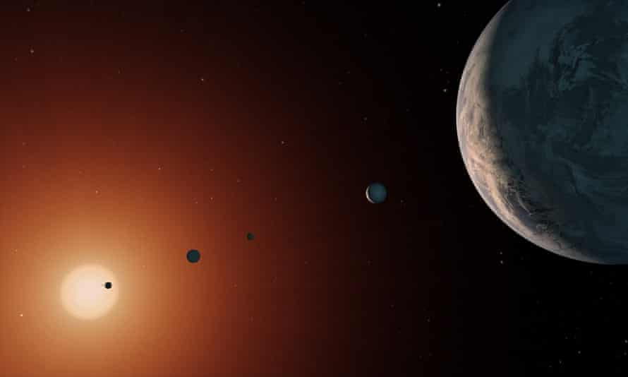 This illustration shows what the Trappist-1 system, which lies 39 light-years away, may look like.