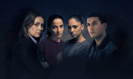 The cast of Honour: Keeley Hawes as Caroline Goode, Buket Komur as Banaz Mahmod, Rhianne Barreto as Bekhal Mahmod and Moe Bar-El as Rahmat Sulemani.