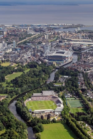 <strong>Day Four</strong><br>An aerial view of the SWALEC Stadium beside the River Taff, with the Millennium Stadium and Cardiff Bay<br>in the background