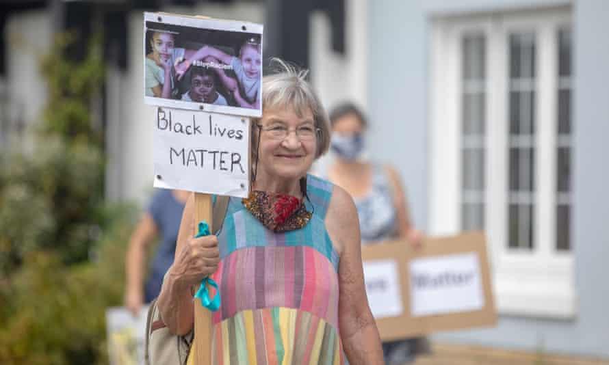 Saturday's protest in Wivenhoe, Essex.