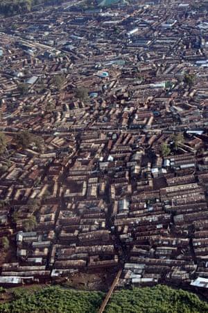 An aerial view of Africa's largest slum, Kibera in Nairobi, Kenya, in 2008