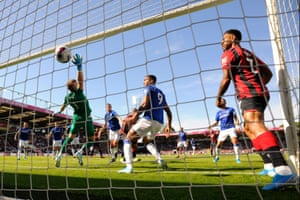 Everton's Jordan Pickford is beaten by a header from Callum Wilson. Bournemouth marched to a 3-1 on Sunday as Wilson scored twice.