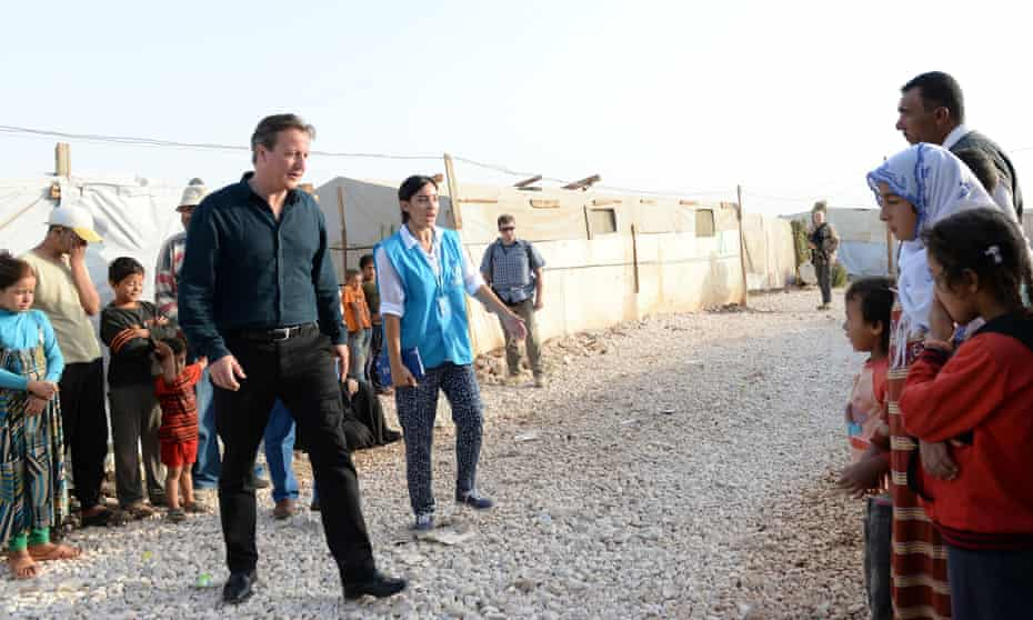 David Cameron visiting a refugee camp in Lebanon in September 2015