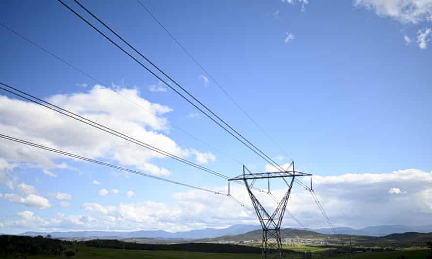 Powerlines are seen leading towards a the suburb of Wright in Canberra, Australia