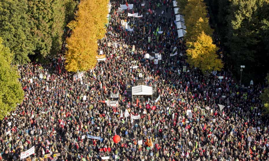 More than 100,000 people demonstrated against the TTIP and CETA trade accords in Berlin last October.
