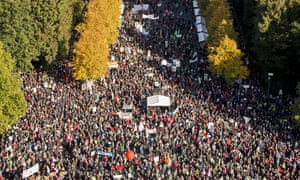 Protesters gather to demonstrate against the TTIP trade agreement in Berlin on Saturday.