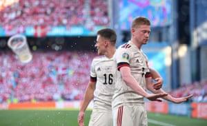 De Bruyne celebrates scoring.