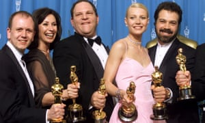 Palpable hit … Harvey Weinstein, third left, and Gwyneth Paltrow with Shakespeare in Love's Oscar haul.