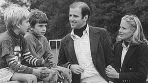 Joe Biden with sons Beau, left, and Hunter and his future wife Jill Jacobs in an undated photo.