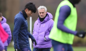 José Mourinho oversees Tottenham training on Friday before the game against Burnley.