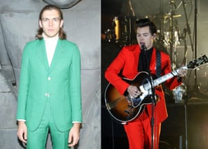 Block-colour tailoring Forget navy and grey, for summer you want your suit colour to be attention-grabbing with rock star credentials. Choose pastel like James Righton's Mick Jagger homage (left), or primary bright like Harry Styles (right).