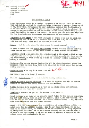 Document entitled Key Worries dated 21 May 1973. Contains lists of issues to be considered for filming, such as the acquisition of props and costumes, building of sets, arrangement of transport and finalising of locations as well as the casting of extras and sorting out of the budget.
