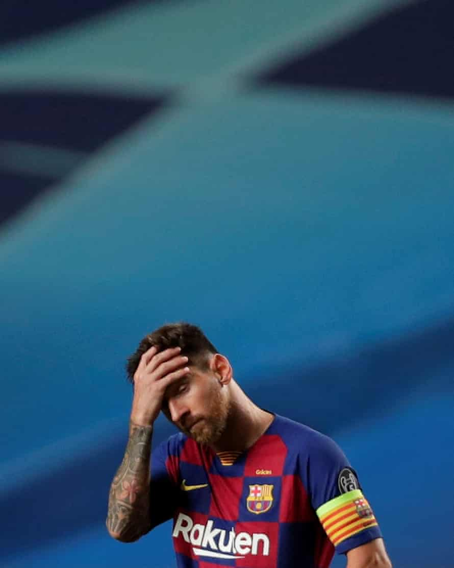 Lionel Messi reacts during Barcelona's 8-2 defeat against Bayern Munich in the Champions League quarter-final at the Estádio da Luz in Lisbon on 14 August.