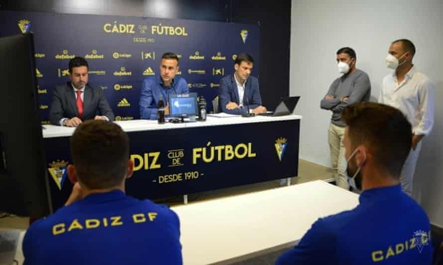 Juan Cala speaks at a press conference on Tuesday.