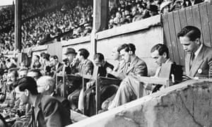 Radio commentators in the stands at Wembley in 1948