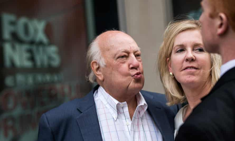 Roger Ailes with his wife Elizabeth Tilson as they leave the News Corp building in New York, two days before he formally resigned as Fox News chairman.