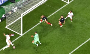 Harry Kane hits the post from a tight angle after his initial effort was saved by Danijel Subasic in the early stages when England were dominant and Croatia were rocking.