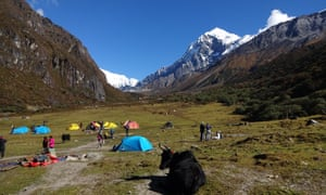 Trekkers in katepaul's group camp out in a high mountain pass.