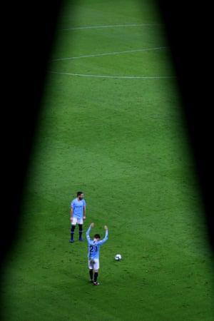 . 9 March: David Silva of Manchester City prepares for a free-kick against Watford at Etihad Stadium.