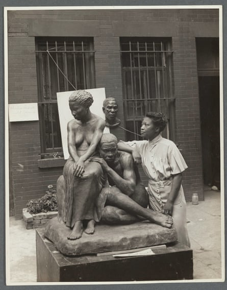Savage with her sculpture Realization in 1938.