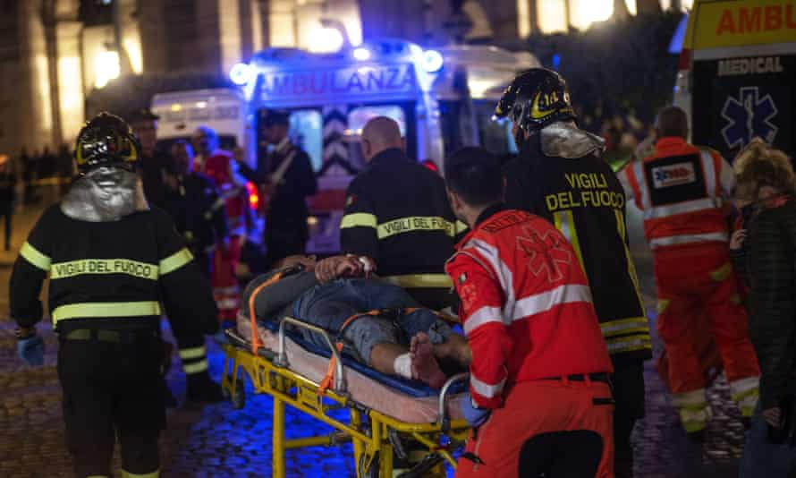 Emergency services outside the Repubblica – Teatro dell'Opera station on Tuesday evening