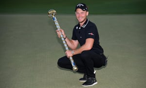 Danny Willett celebrates on the 18th green after the final round of the DP World Tour Championship.