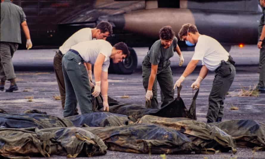 US military personnel remove American bodies from Jonestown, Guyana, for repatriation.
