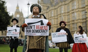 Demonstrators in Tudor dress protest against the European Union withdrawal bill.