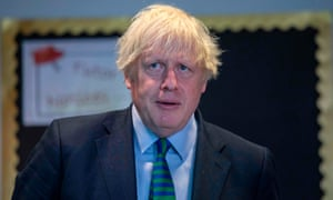 UK prime minister Boris Johnson during a recent trip to a school in the East Midlands.