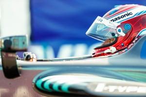 Adam Carroll of Panasonic Jaguar sits in his Jaguar I-Type