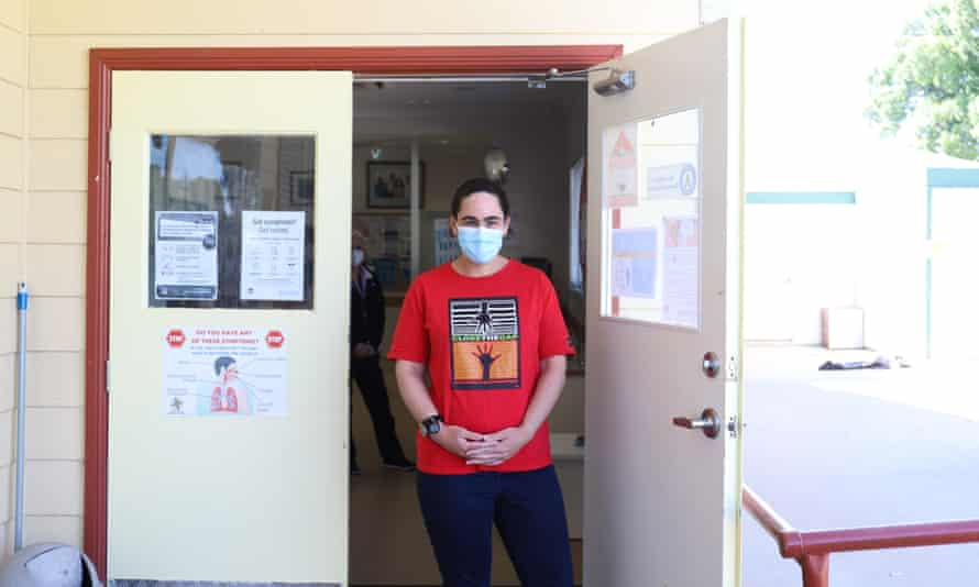 Bourke Aboriginal health service manager Claire Williams, wearing a mask