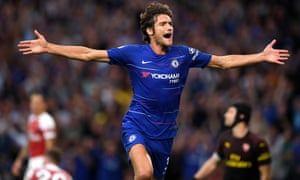 Marcos Alonso of Chelsea celebrates after scoring his team's third.
