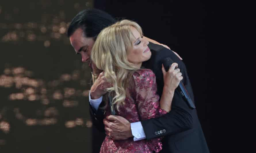Intimate embrace … Kylie and Nick Cave on stage at Glastonbury 2019.