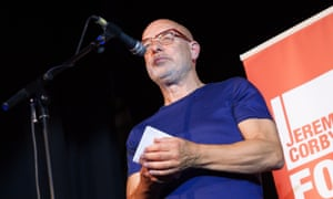 Long-time musician, composer and producer Brian Eno addresses the Corbyn leadership rally.