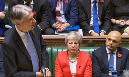 Philip Hammond, Theresa May and Sajid Javid in the House of Commons