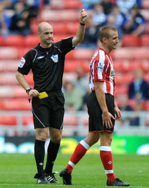 Cattermole is sent off by referee Anthony Taylor a Premier League game in August 2010